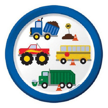 "Traffic Jam Birthday Party 7"" Dessert Cake Plates 8 ct Monster Truck Bus"