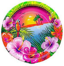"Luau Hibiscus Flower Parrot Beach 7"" Dessert Cake Plates 8 ct Party"