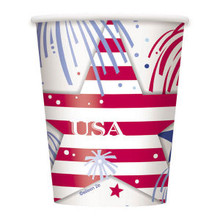 USA Fireworks July 4th Cups 8 ct Party Hot Cold Paper 9 oz Memorial day