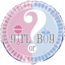 "Gender Reveal Party Girl Boy ? Baby Shower 18"" Foil Mylar Balloon"
