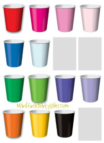 Solid Paper Cups 9 oz Red Blue Yellow Green Purple Pink Lavender Black Orange