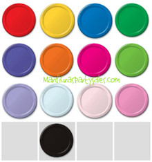"Plates 7"" Dessert Cake Solid Colors Paper Red Blue Yellow Green Purple Pink Black Orange etc"