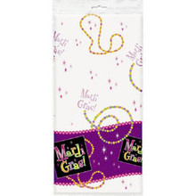 Mardi Gras Beads Party Tablecover Plastic 54 x 84 Celebration Decor