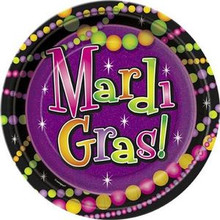 "Mardi Gras Beads 7"" Dessert Cake Plates 8 ct Party Tableware"