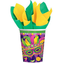 Mardi Gras Beads Party Masquerade Mask 9 oz Cups Hot cold 8 ct