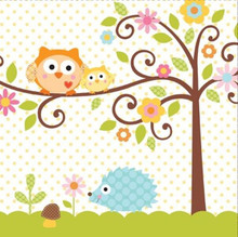 Happi Tree 16 Ct Lunch Napkins Baby Shower Sweet Baby Owl Paper