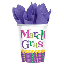 Mardi Gras Beads Party Celebration 9 oz Cups Hot cold 8 ct Decor