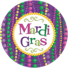 "Mardi Gras Celebration Beads Theme 12 7"" Dessert Plates Party Tableware"