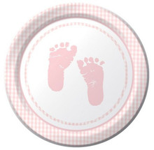 Plaid Girl Pink Baby Shower Party 7 inch Dessert Plates Footprints