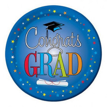 "Congrats Star Grad Graduation Blue 8 Ct 9"" Lunch Plates"