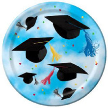 "Cap Toss Graduation Party Blue 8 ct  7"" Dessert Plates"