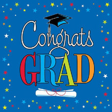 Congrats Star Grad Graduation Blue 16 ct Luncheon Napkins
