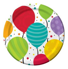 "Bright Shimmering Balloons Birthday Dinner 9"" Party Plates"