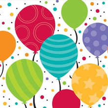 Bright Shimmering Balloons Birthday Party 16 Lunch Napkins