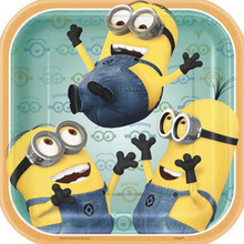 "Despicable Me 2 Minions Birthday Party Cake Dessert Plates 7"" Square"