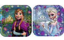 "Disney Frozen 7"" Square Paper Cake 8 Dessert Plates Party Elsa Anna"