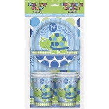 1st First Birthday Blue Turtle Party Pack 8 guest Plates Cups Napkins Tablecover