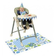 1st Birthday First Blue Turtle Party High Chair Decorating kit bib hat