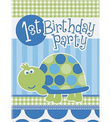 1st First Birthday Blue Turtle Party 8 Invitations
