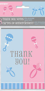 Gender Reveal Party Girl Boy ? Baby Shower 8 Thank you with envelopes