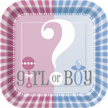 Gender Reveal Party Girl Boy ? Baby Shower Cake Dessert Plates 7""