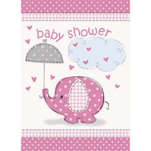 Umbrella Elephant Pink Girl Baby Shower 8 Invitations with Envelopes