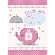 Umbrella Elephant Pink Girl Baby Shower 8 Thank Yous with Envelopes