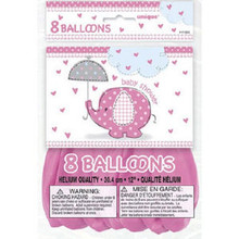 "Umbrella Elephant Pink Girl Baby Shower 8 12"" Latex Balloons Printed"