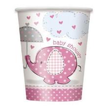 Umbrella Elephant Pink Girl Baby Shower 8 9 oz Cups