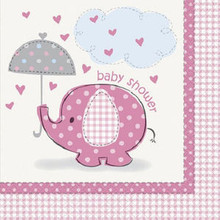 Umbrella Elephant Pink Girl Baby Shower Party 16 Lunch Napkins