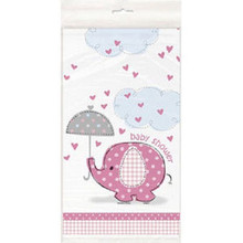 Umbrella Elephant Pink Girl Elephant Baby Shower Table cover Tablecloth