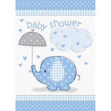 Umbrella Elephant Blue Boy Baby Shower Party Invitations 8 ct