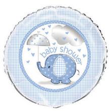 "Umbrella Elephant Blue Boy Baby Shower Party 1 18"" Mylar Foil Balloon"
