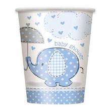 Umbrella Elephant Blue Boy Baby Shower Party 9 oz cups