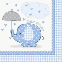 Umbrella Elephant Blue Boy Baby Shower Party Large Lunch Napkins