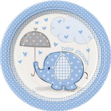 "Umbrella Elephant Blue Boy Baby Shower 8 7"" Dessert Cake Plates"