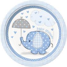 "Umbrella Elephant Blue Boy Baby Shower Dinner Lunch 9"" Plates"