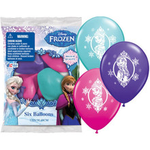 "Disney Frozen Printed Latex Balloons Pack Birthday Party 6 (six) 12"" Asst Round"