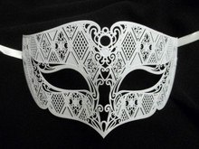 White Male Diamond Design Laser Cut Venetian Masquerade Metal Filigree Mask Men