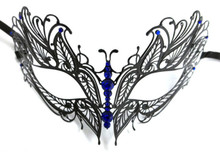 Blue Crystal Butterfly Eyes Laser Cut Venetian Mask Masquerade Metal Filigree