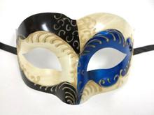 Blue Cream Black Masquerade Mardi Gras Halloween Ball Mask