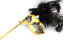 Gold Black Jewel Stick Venetian Masquerade Mardi Gras Feather Mask