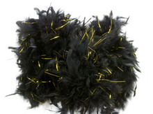 "Black Chandelle Feather Boa Gold Tinsel 72"" 6 Ft Masquerade 60 gm"