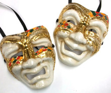 Colorful White Full Face Comedy & Tragedy Venetian Masks Masquerade Wall Hanging