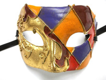 Gold Foil Orange Red Purple Harlequin Masquerade Paper Mache Mardi Gras Mask