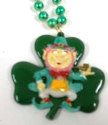Leprechaun Shamrock Clover Pipe St Patrick's Day Mardi Gras Bead Necklace