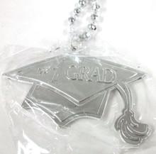 Silver #1 Grad Cap Tassel Graduation Double Sided Mardi Gras Disco Ball Bead
