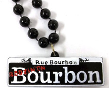Boozin on Bourbon Street Sign New Orleans Mardi Gras Bead Necklace