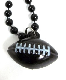 Black Football Shape Mardi Gras Bead Beads Necklace Party Favor