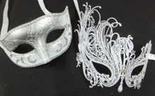 White Crystal Swan Laser Venetian Couples Man Woman Masquerade Metal Mask Set